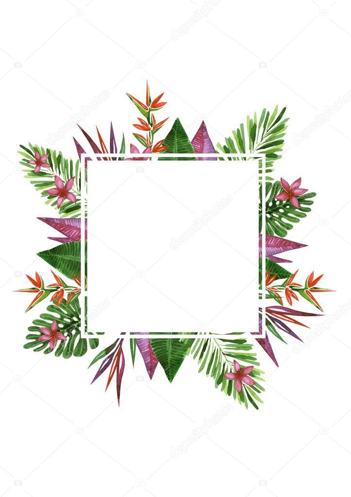 Marco de flores exóticas y plantas. Acuarela realista paintin ...
