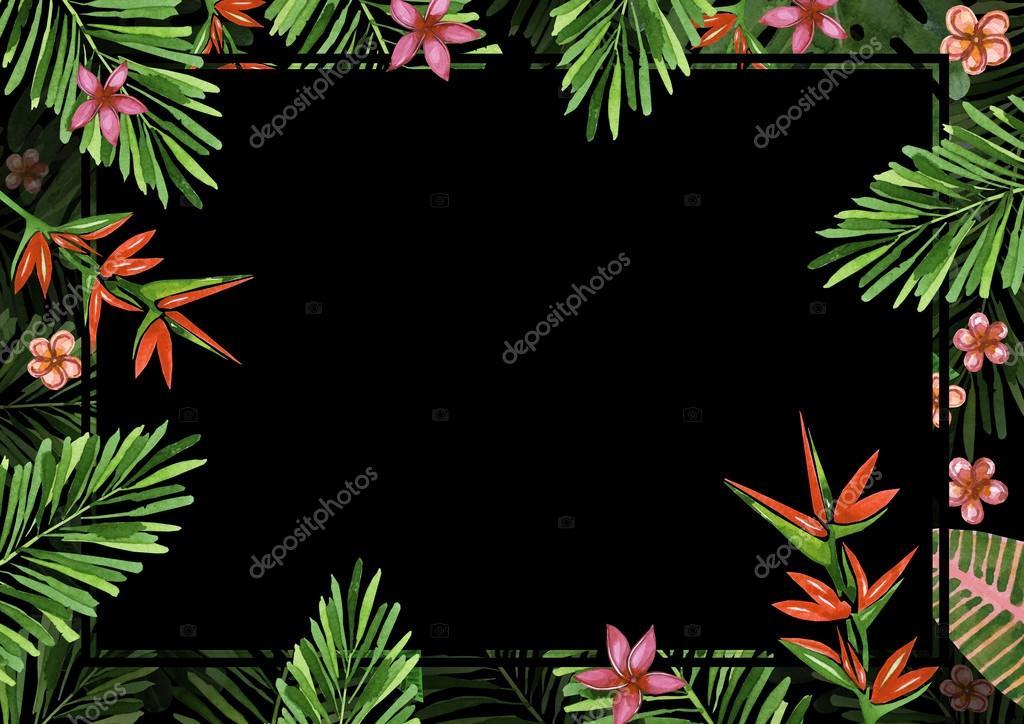 Marco de flores exóticas y plantas. Acuarela realista paintin — Foto ...