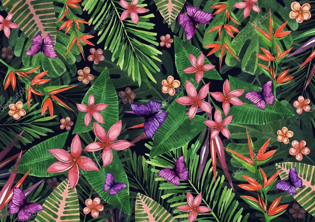 Dessin De Fleurs Tropicales De Plantes Et De Fleurs