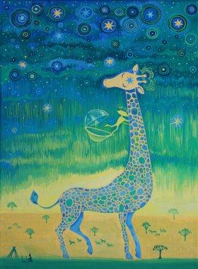 Funny giraffe meet aliens.Funny communication illustration. Kids