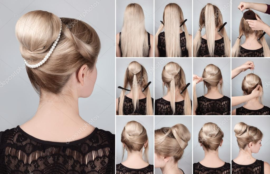 Hairstyle With Bun For Long Hair Tutorial Stock Photo Alterphoto