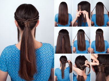 easy hairstyle pony tail with plaits hair tutorial