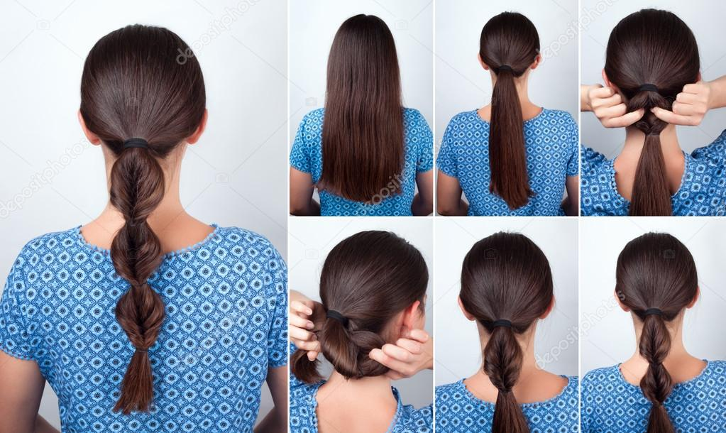 Tutorial Einfache Frisur Fur Lange Haare Stockfoto C Alterphoto