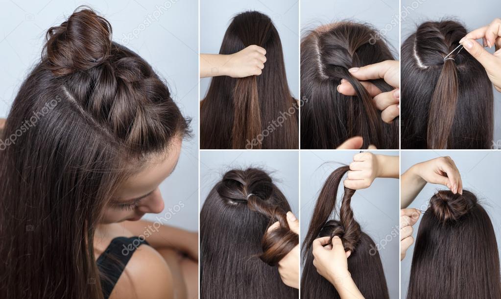 Bollo De Peinado Moderno Con Tutorial De Trenza Fotos De Stock