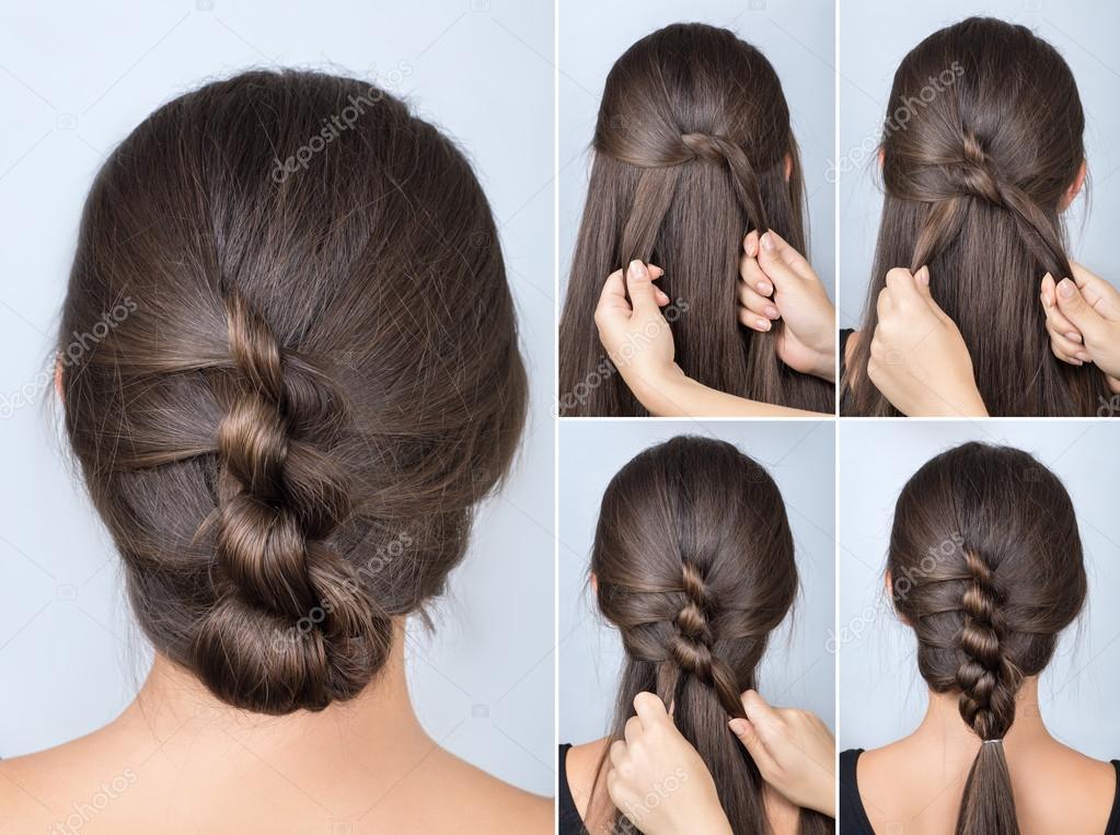 Jednoduchý účes zkroucené kurz. Jednoduchý účes pro dlouhé vlasy. Účes z  kroucené uzlů. Kurz účes — Fotografie od ... 160b18d998