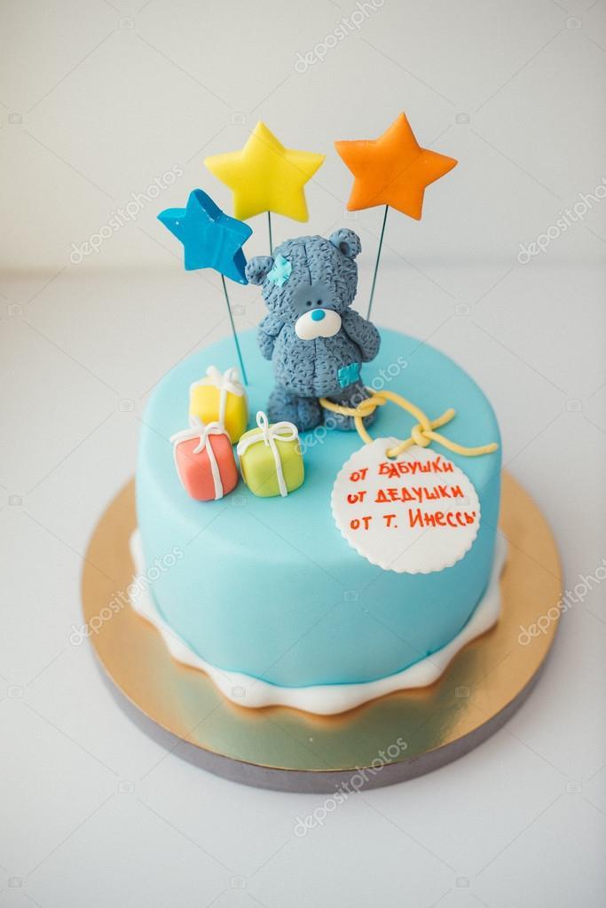 szülinapi torta fiúnak Részletek a első év születésnapi torta kék — Stock Fotó © Dikushin  szülinapi torta fiúnak