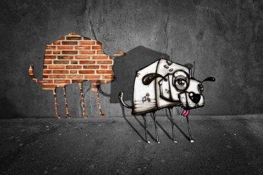 Graffiti dog escaped from gray wall