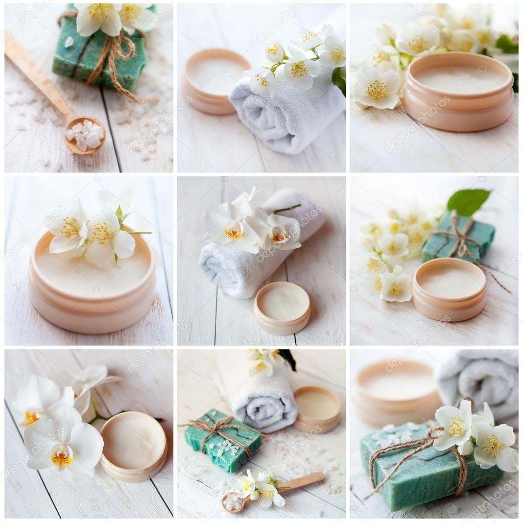 Sea salt, beauty cream with jasmine flower and  orchids, essential oil and white towels, spa concept collage