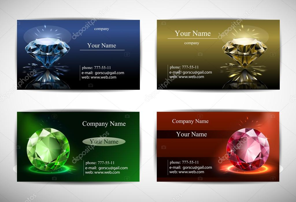 Template postcards blue gold green red background brilliant business cards greeting cards jewelry template vector by innamuza reheart Gallery