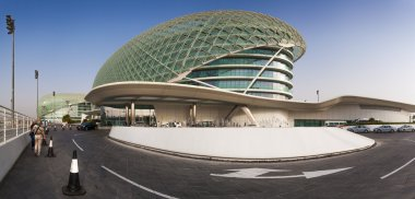 Abu Dhabi, UAE- May 13,2014: The Yas Circuit and Hotel - the iconic symbol of Abu Dhabi's Grand Prix.