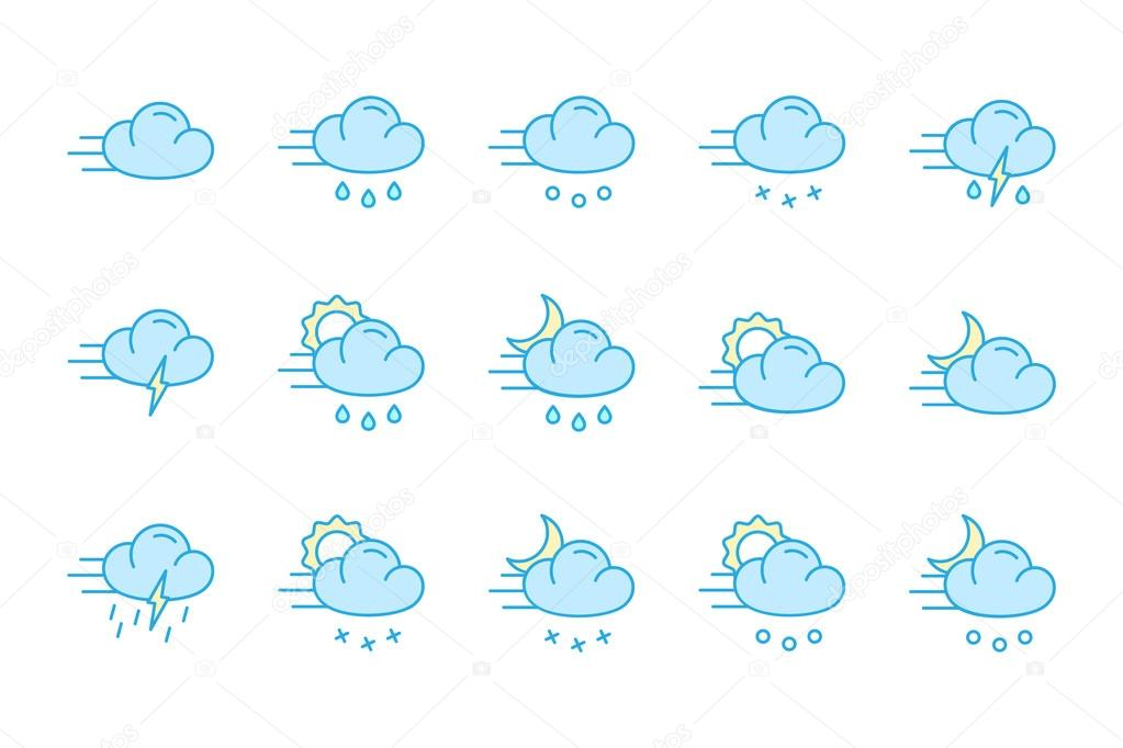 Weather icons color collection flat