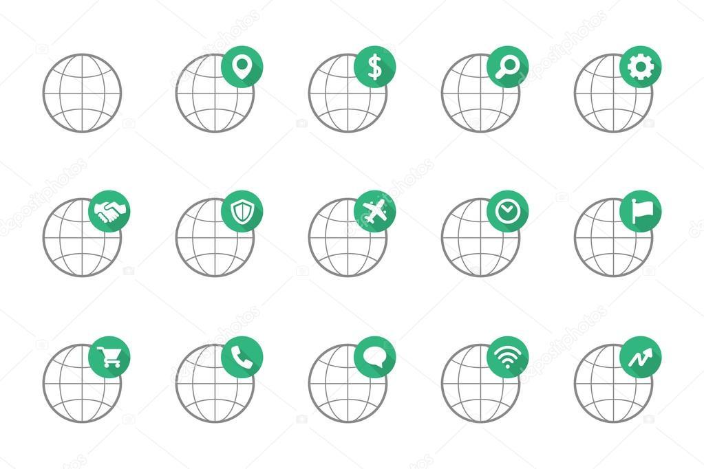 Global Flat Icon Stock Vector Wasiliyg 102726896