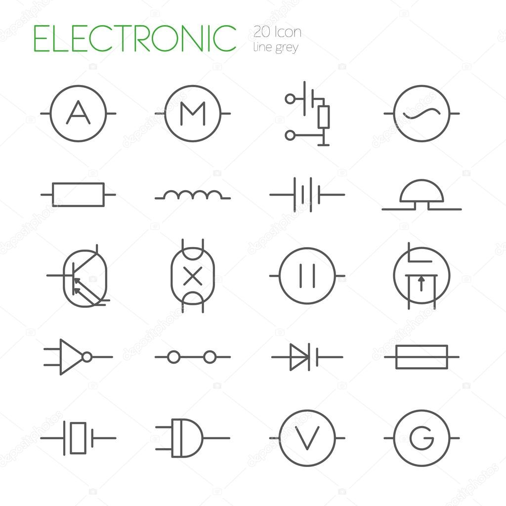 Elektronische Bauteile Linie graue Symbole — Stockvektor © wasiliyg ...