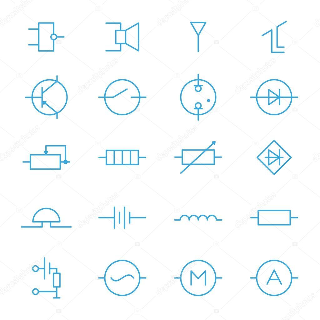 Elektronische Bauteile blaue Linie Symbole — Stockvektor © wasiliyg ...