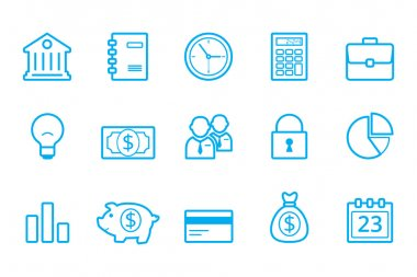 Bank line icons, business line icons