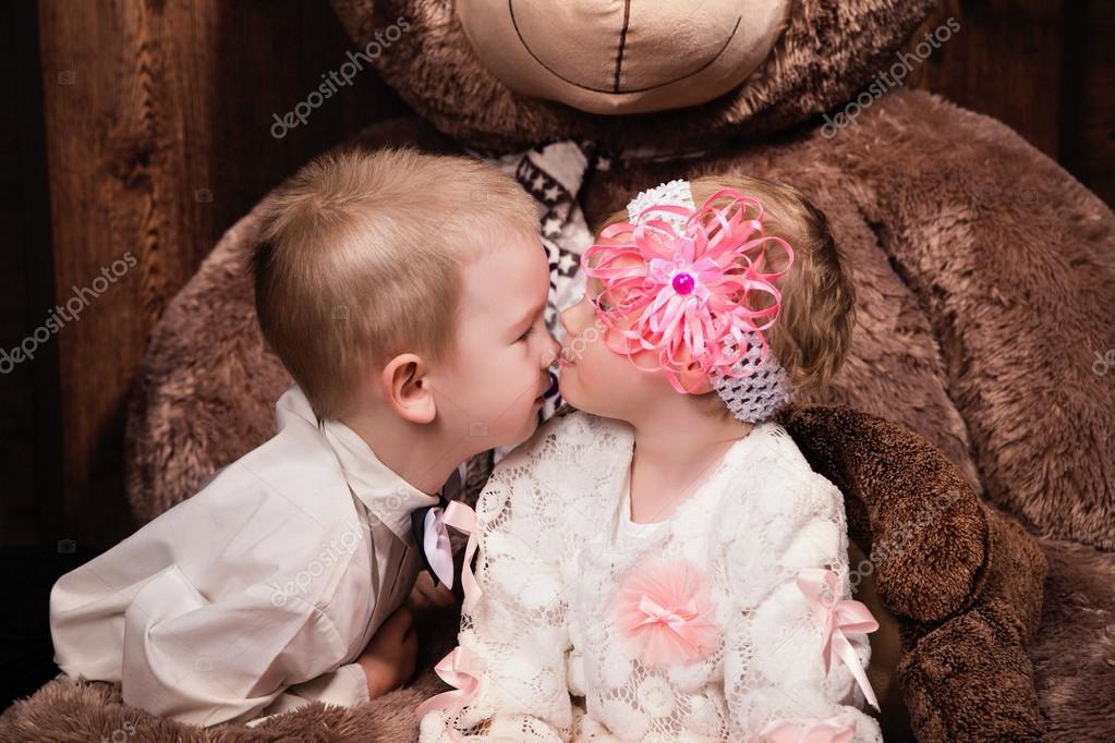 Cute Little Girl Kissing Small Boy Stock Photo Ribalka 96415658