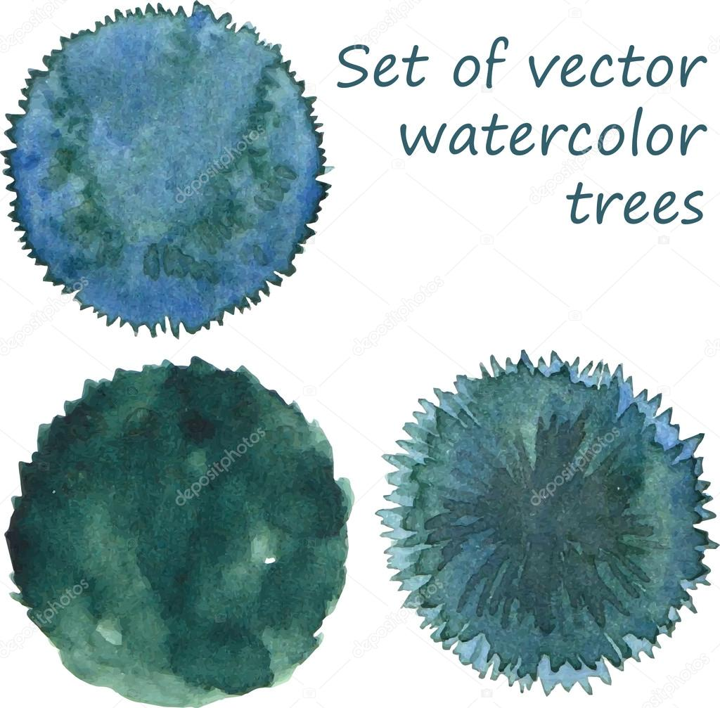 Set of watercolor trees, top view, vector