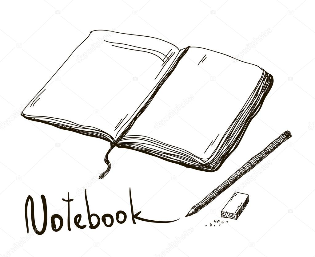 Sketch of notebook with pencil and eraser vector stock vector
