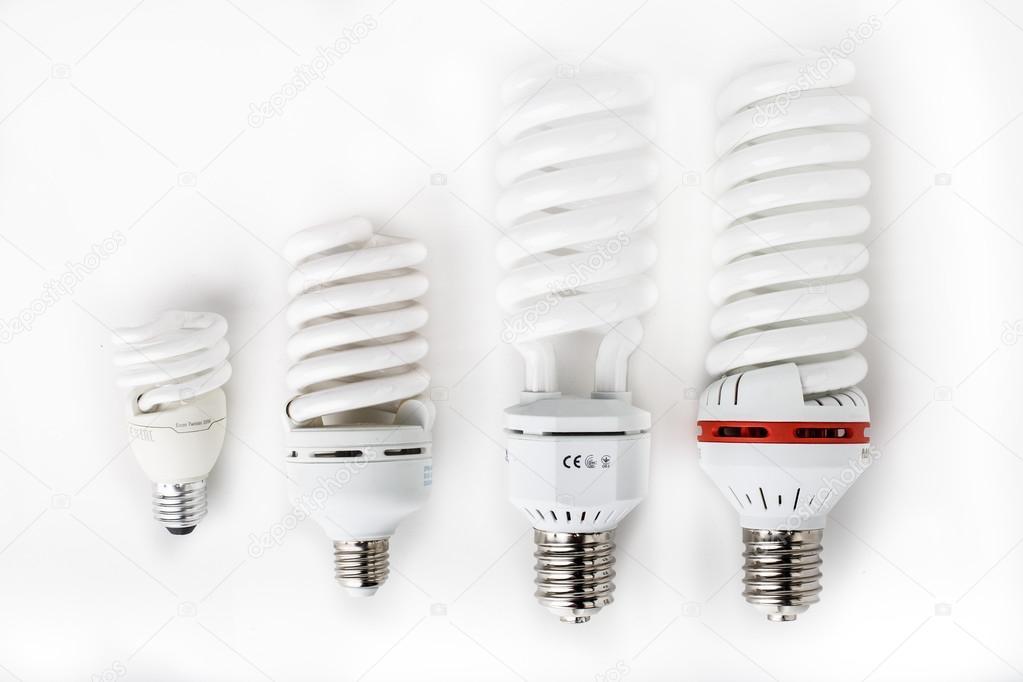 Dai piccoli ai grandi lampade fluorescenti u foto stock dens us