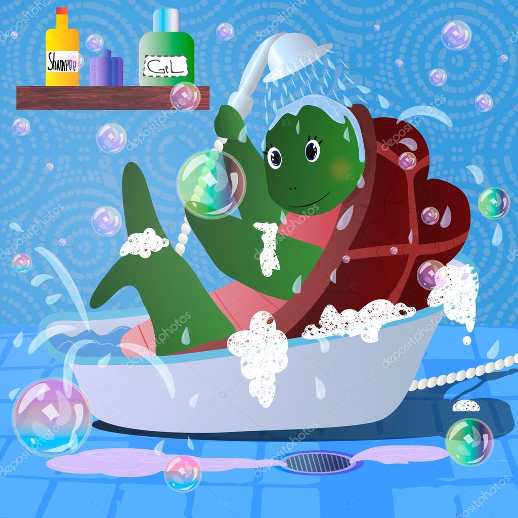 Vector Cartoon Bild der Schildkröte im Badezimmer Handtuch ...