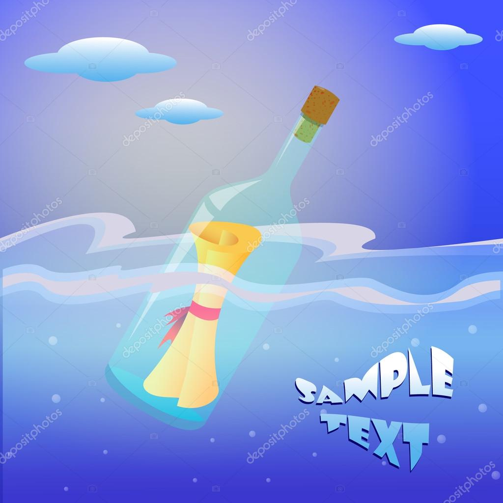 Illustration of message in the bottle on sea. Wishes in a bottle