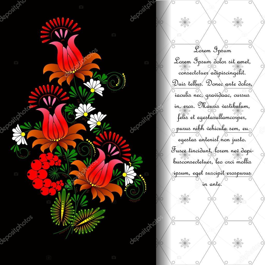 Flower. Vector in Ukrainian traditional painting