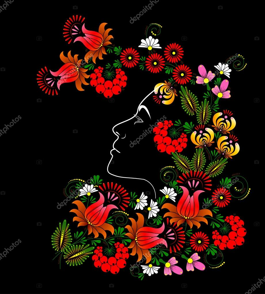 Flower. Womans face. Vector in Ukrainian traditional painting