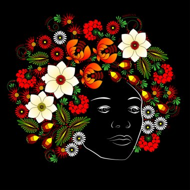 Flower. Woman's face. Vector in Ukrainian traditional painting