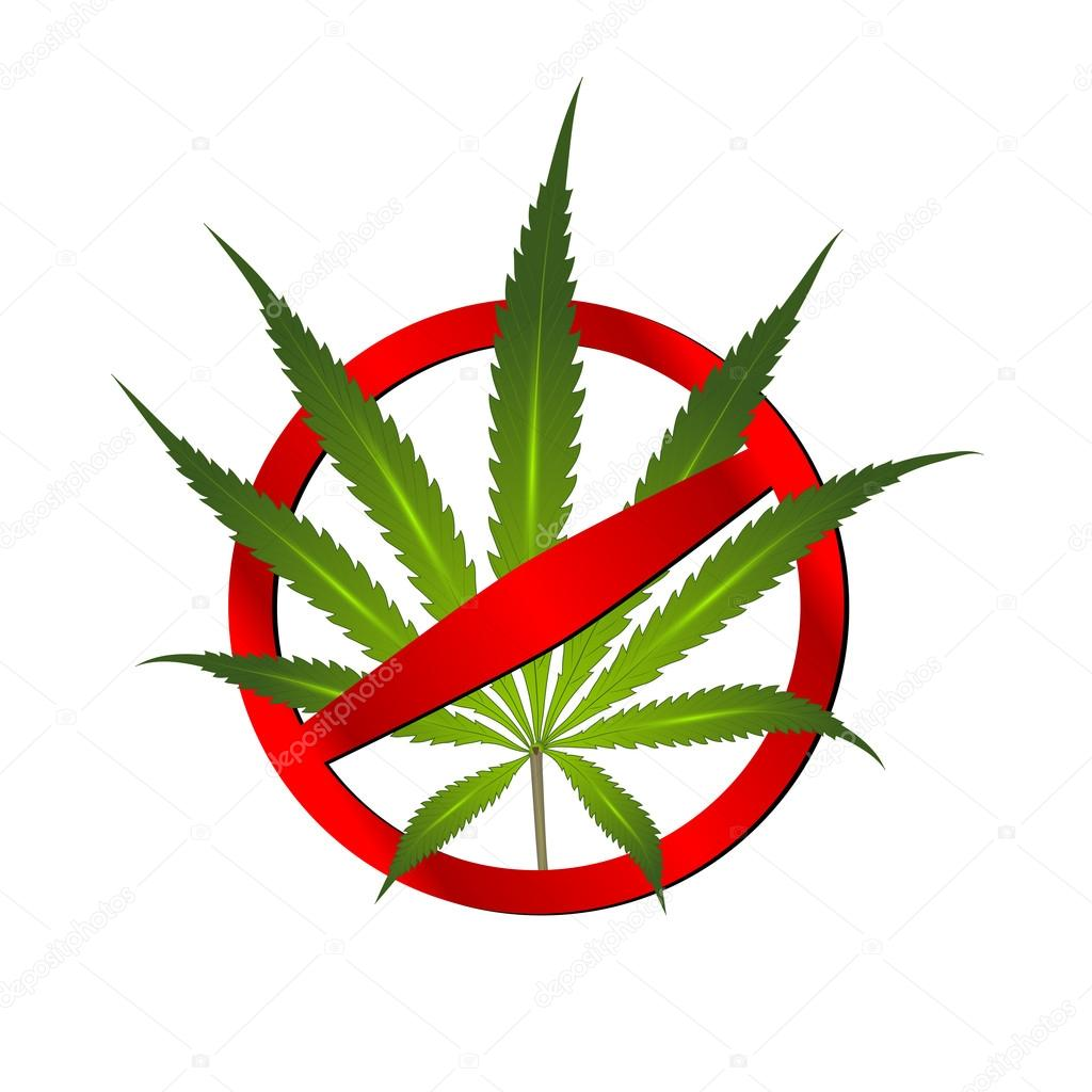 Cannabis leaf prohibition sign