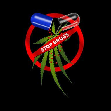 Pills with cannabis, prohibition sign on a black background