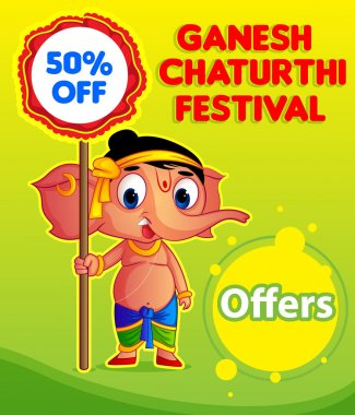 Happy Ganesh Chaturthi Festival Offers stock vector