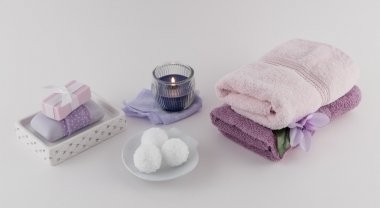 Bath Bombs Bath Soap Towels and Aromatherapy Candle