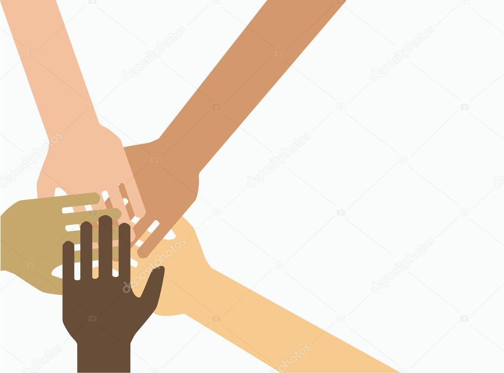 Symbol Of Unity Teamwork Lot Of Hands Together Stock Vector C Miztanya 121207246