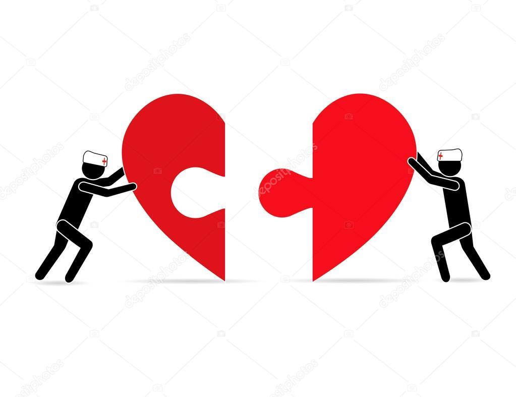 zwei Leute, die Teile des Herzens, zu einer Wiedervereinigung. Das ...