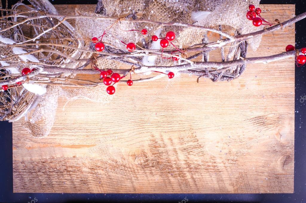 Weihnachten rustikale Lichtkästen auf Holzuntergrund, verschneiten ...