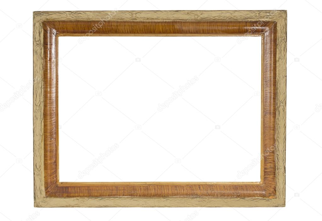 Old-fashioned wooden vintage frame isolated on white background ...