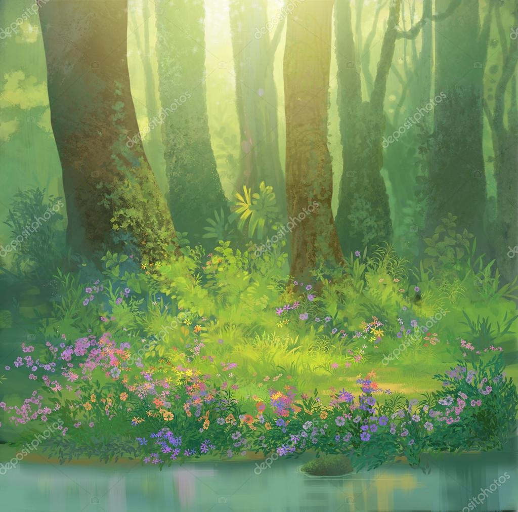 in the forest painting illustration