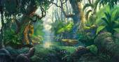 fantazie lesa pozadí obrázku malba