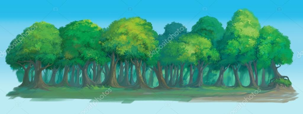 forest background painted illustration