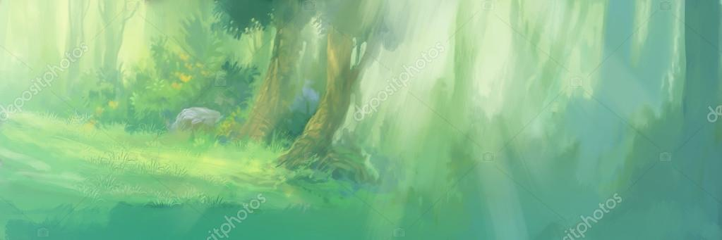 sunrise in the forest background illustration