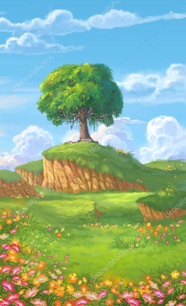 a big tree on meadow