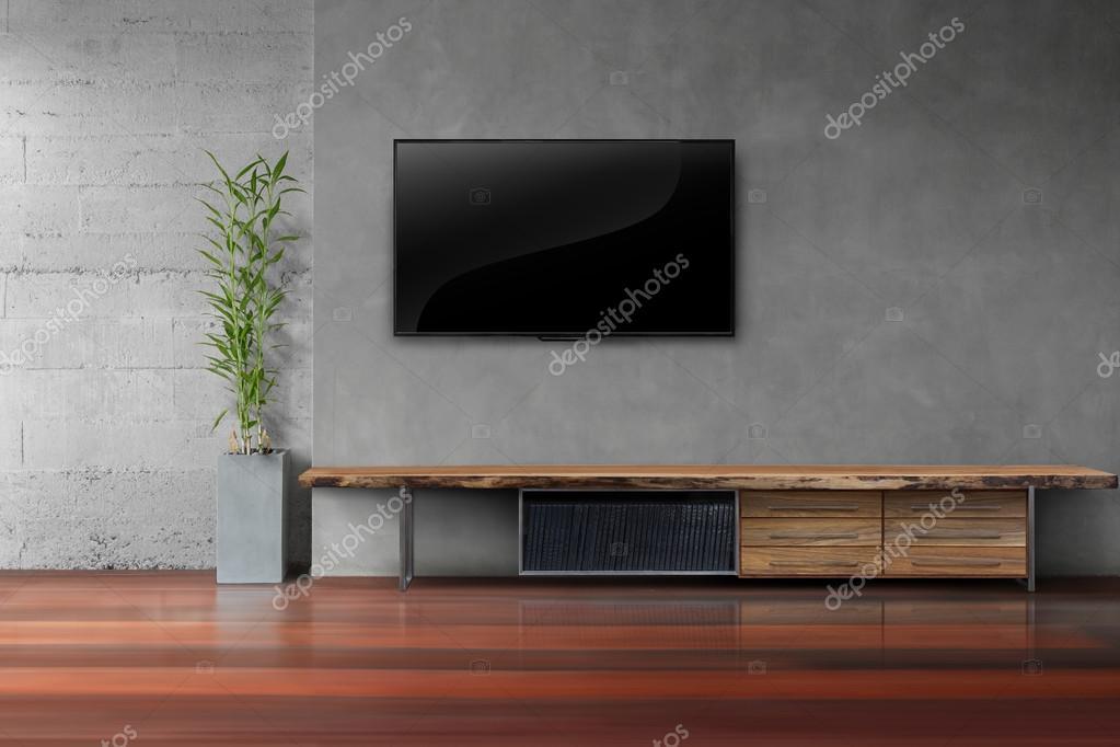 Wohnzimmer Led Tv Auf Betonwand Mit Holztisch U2014 Stockfoto