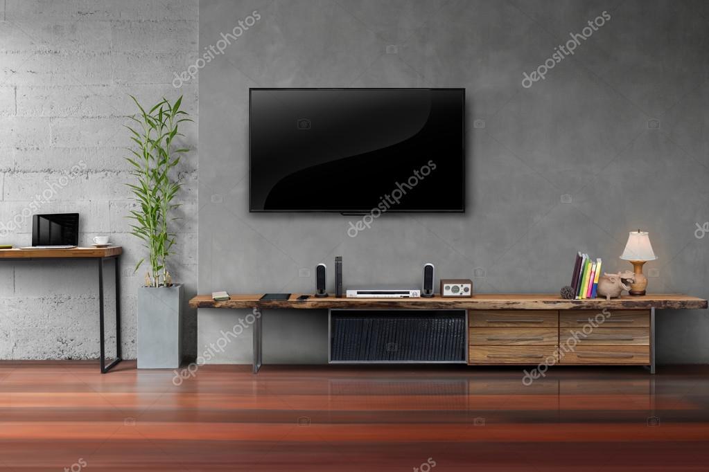 salon led tv sur mur en b ton avec table en bois m dias. Black Bedroom Furniture Sets. Home Design Ideas