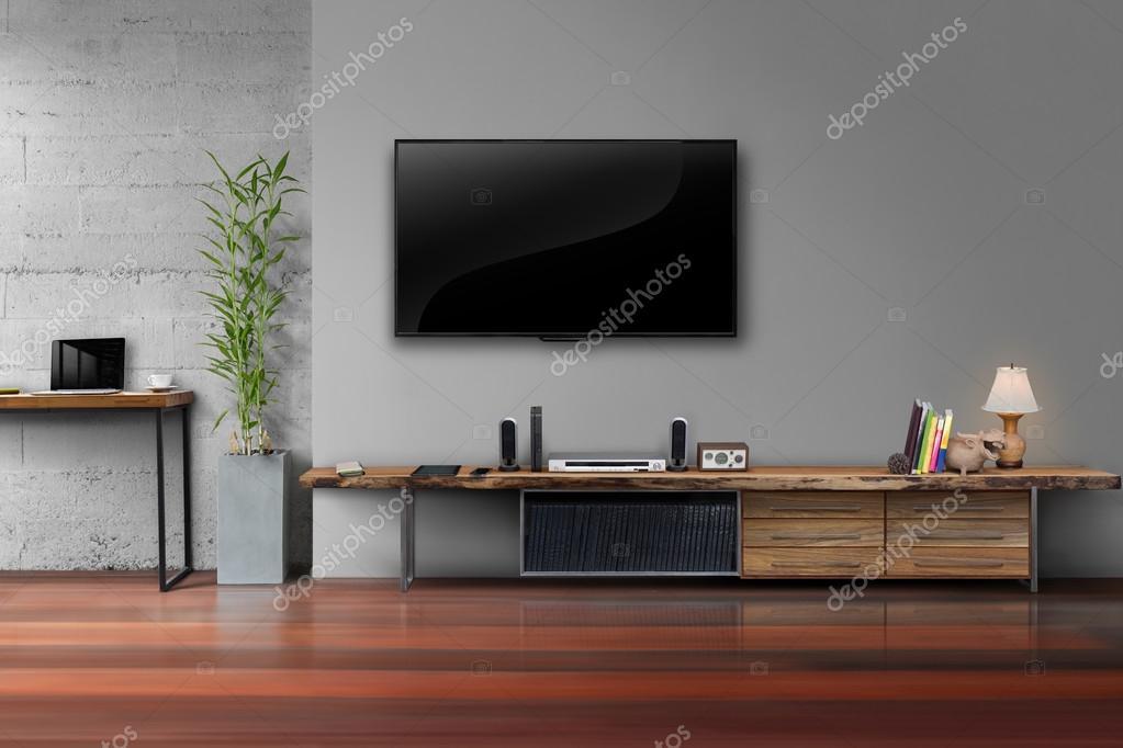 LED tv op grijze muur kleur met houten tafel media meubels ...