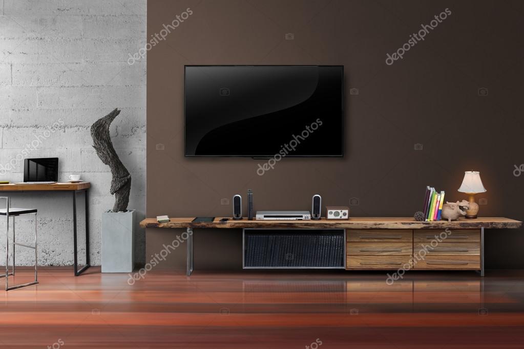 LED Tv Auf Braune Wand Mit Holztisch Im Wohnzimmer U2014 Stockfoto