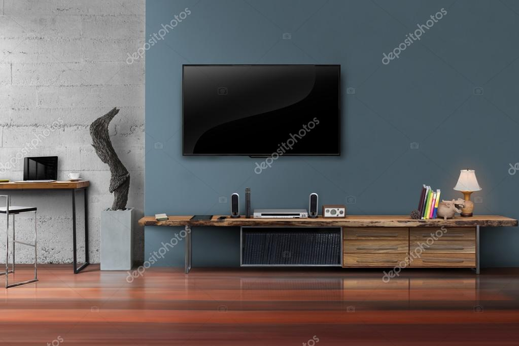 Led Tv Auf Dunklen Blauen Wand Mit Holztisch Im Wohnzimmer