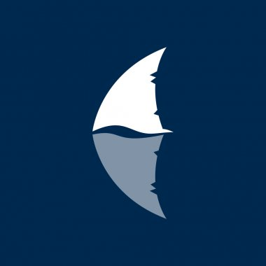 shark fin logo sign on dark blue background