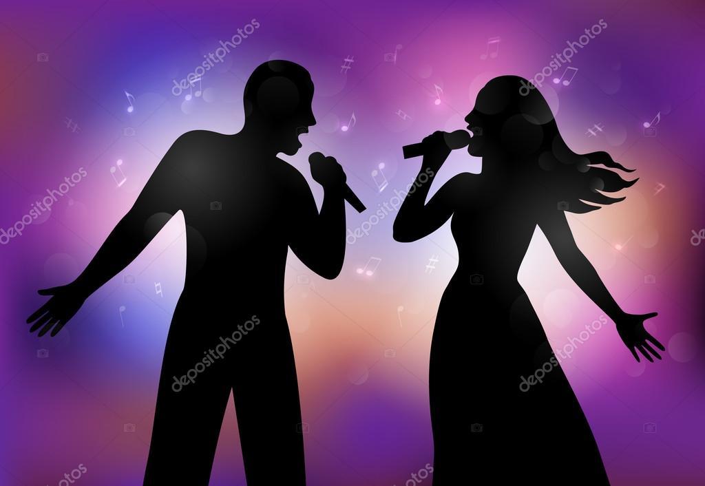 Vector illustration of   singers.