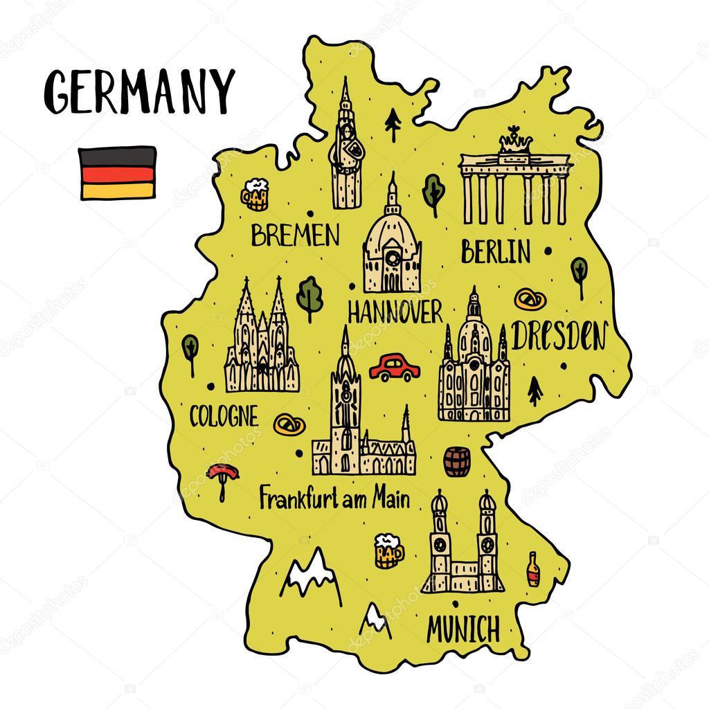 karta tyskland frankfurt Handdrawn karta över Tyskland — Stock Vektor © NinaFedorova #119501078 karta tyskland frankfurt