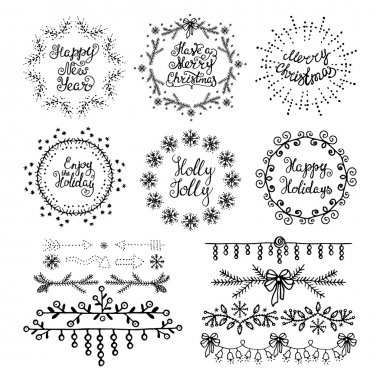 Christmas handdrawn design elements. Wreaths, branches, headers,